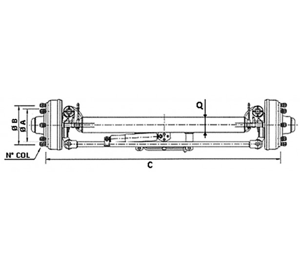 SELF-STEERING AXLES WITH BRAKE